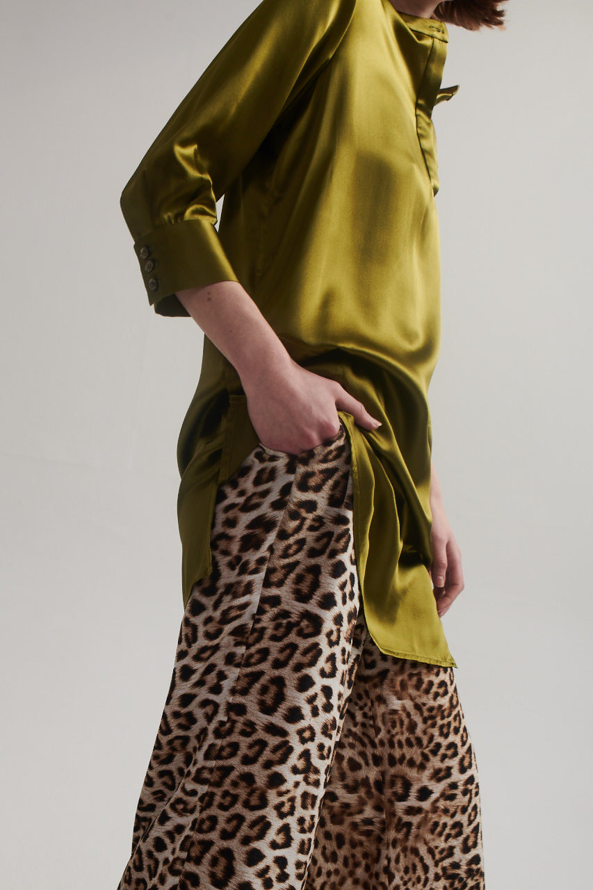 Palazzo Pants in Leopard Silk