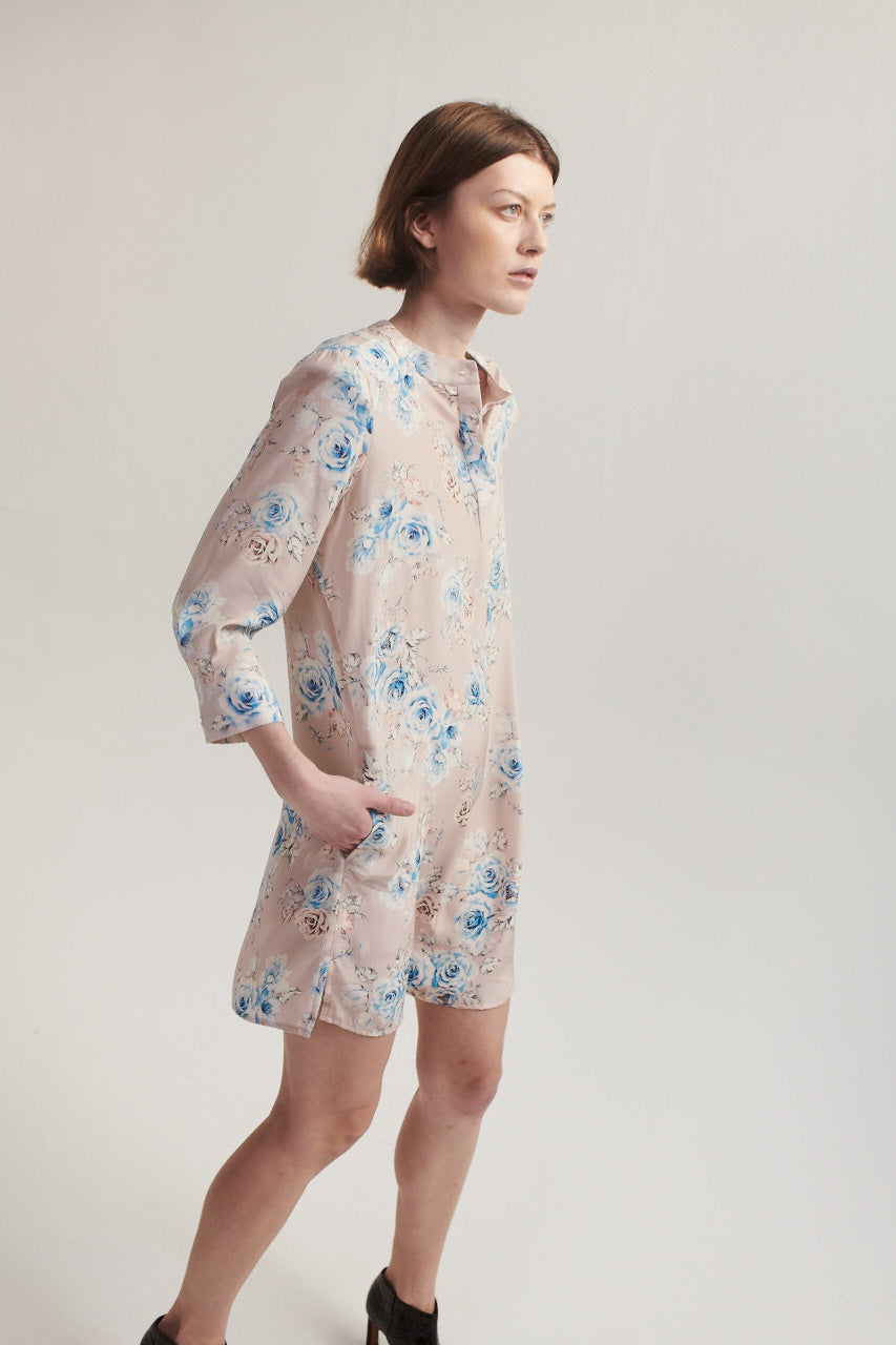 Silk Shirt Dress in Pink Floral