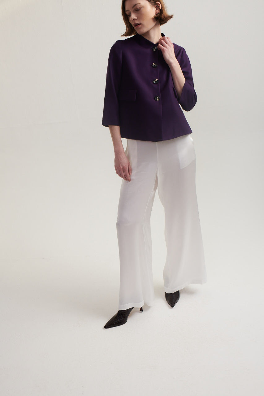 Palazzo Pants in White Silk