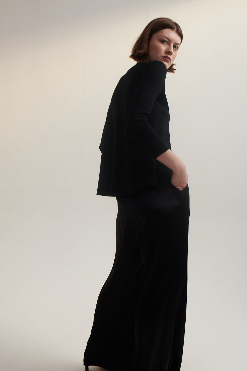 Palazzo Pants in Black Silk Satin.