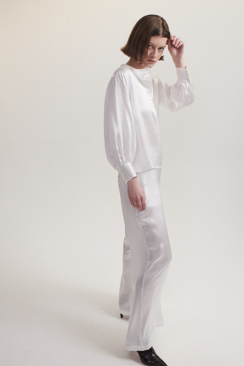 Palazzo Pants in White Silk.