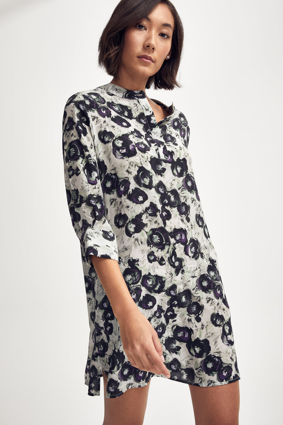 Silk Shirt Dress in Black/White/Purple Peony
