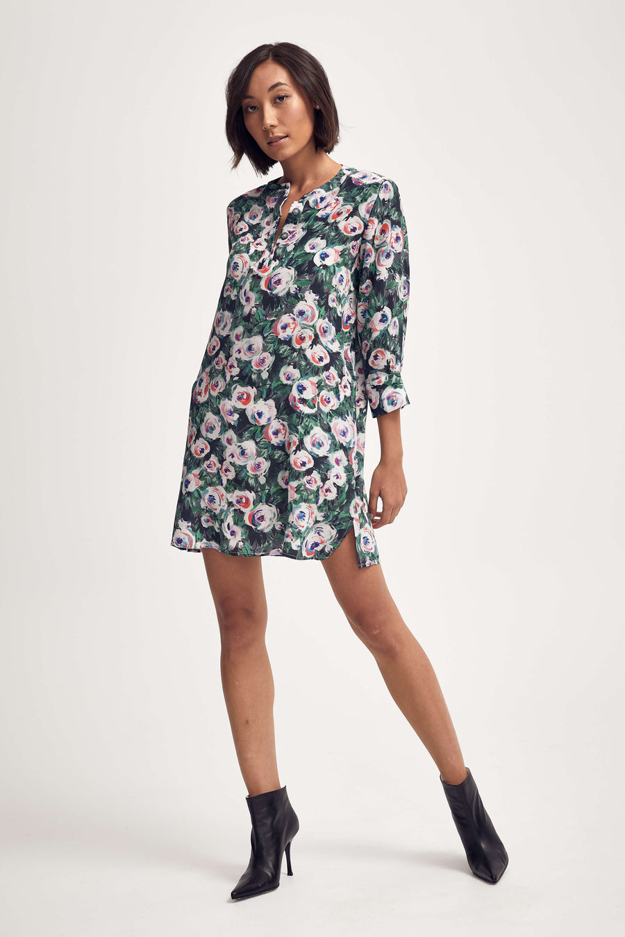 Silk Shirt Dress in Pink & Green Peony