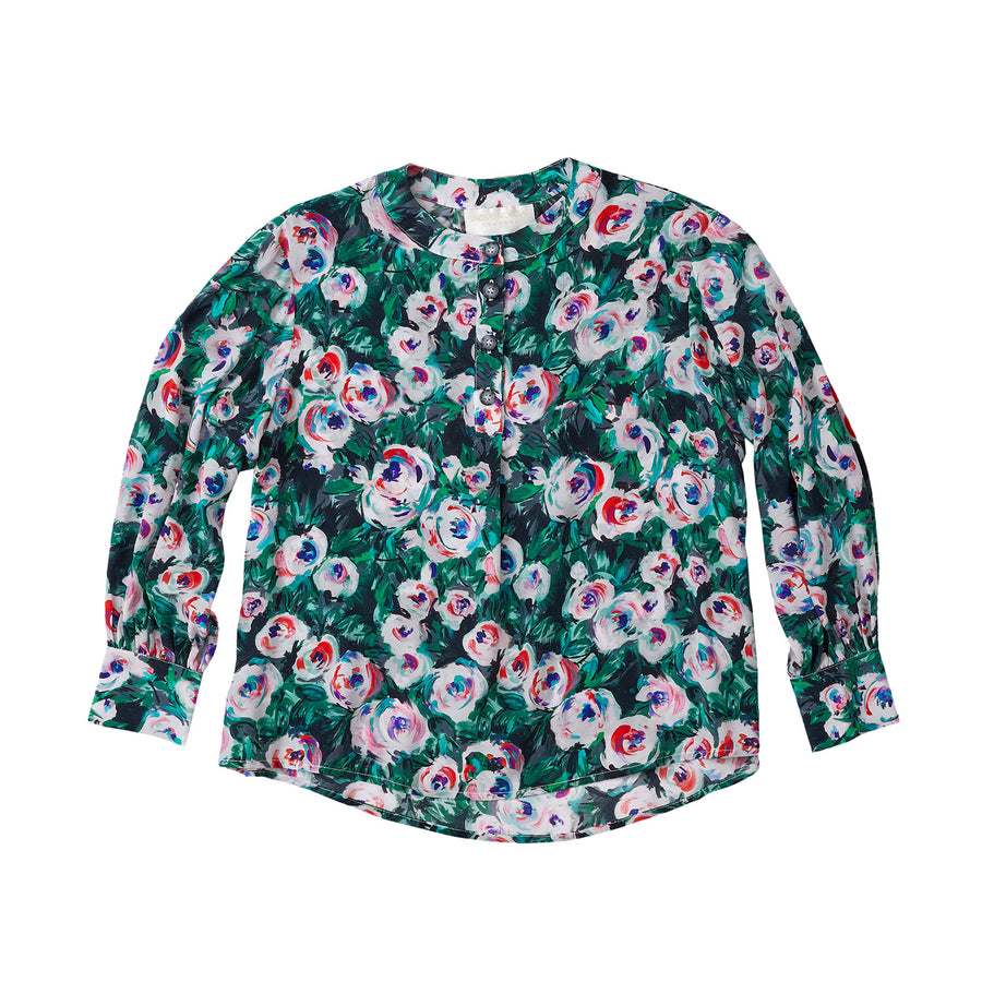 Silk Poet Blouse in Pink & Green Peony