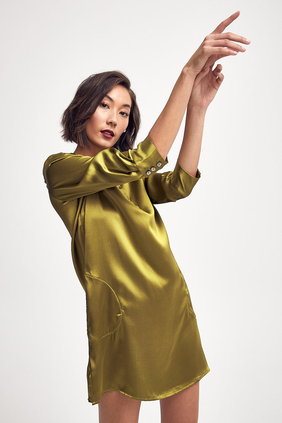 Silk Shirt Dress in Chartreuse