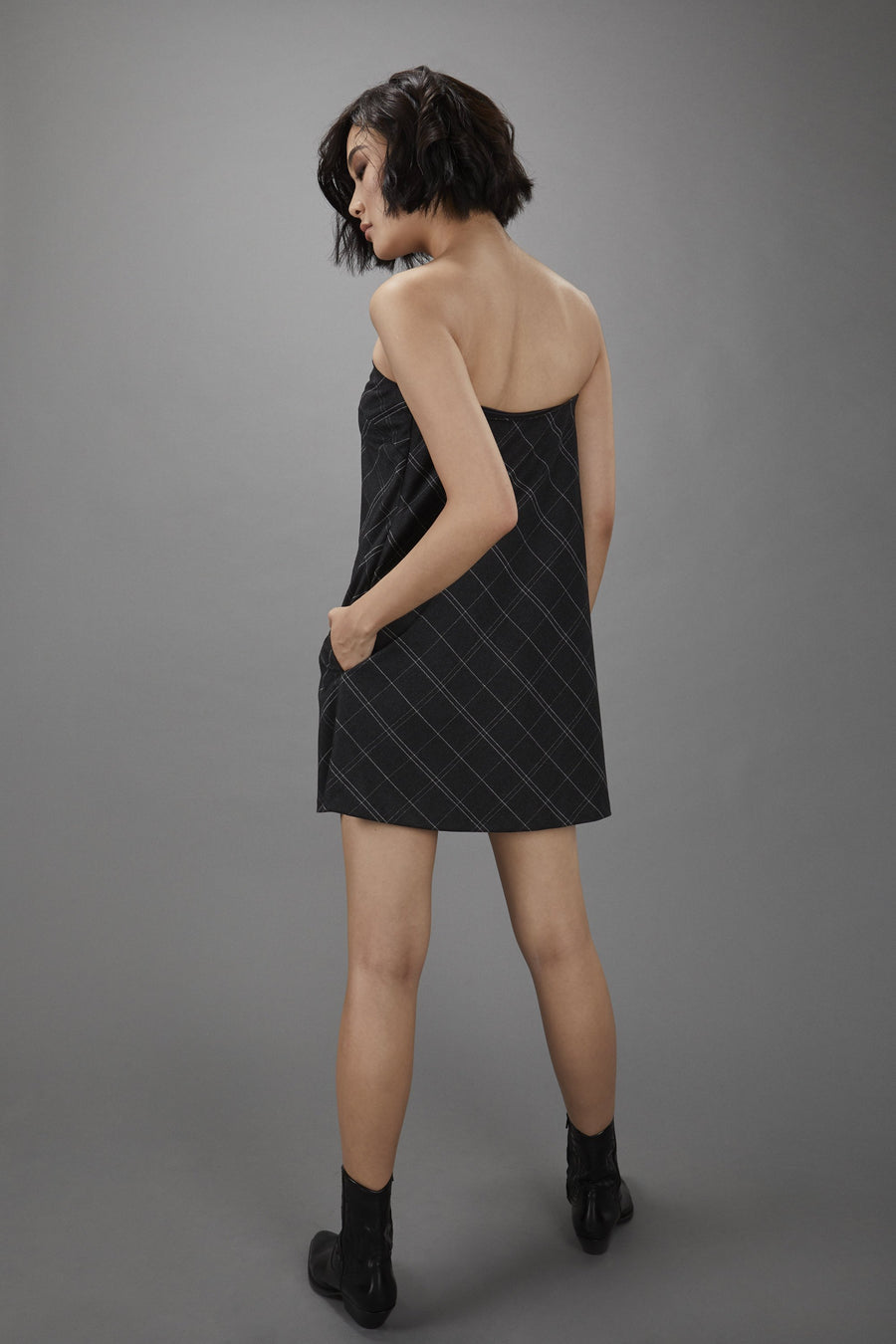 Strapless Swing Dress in Charcoal Windowpane.
