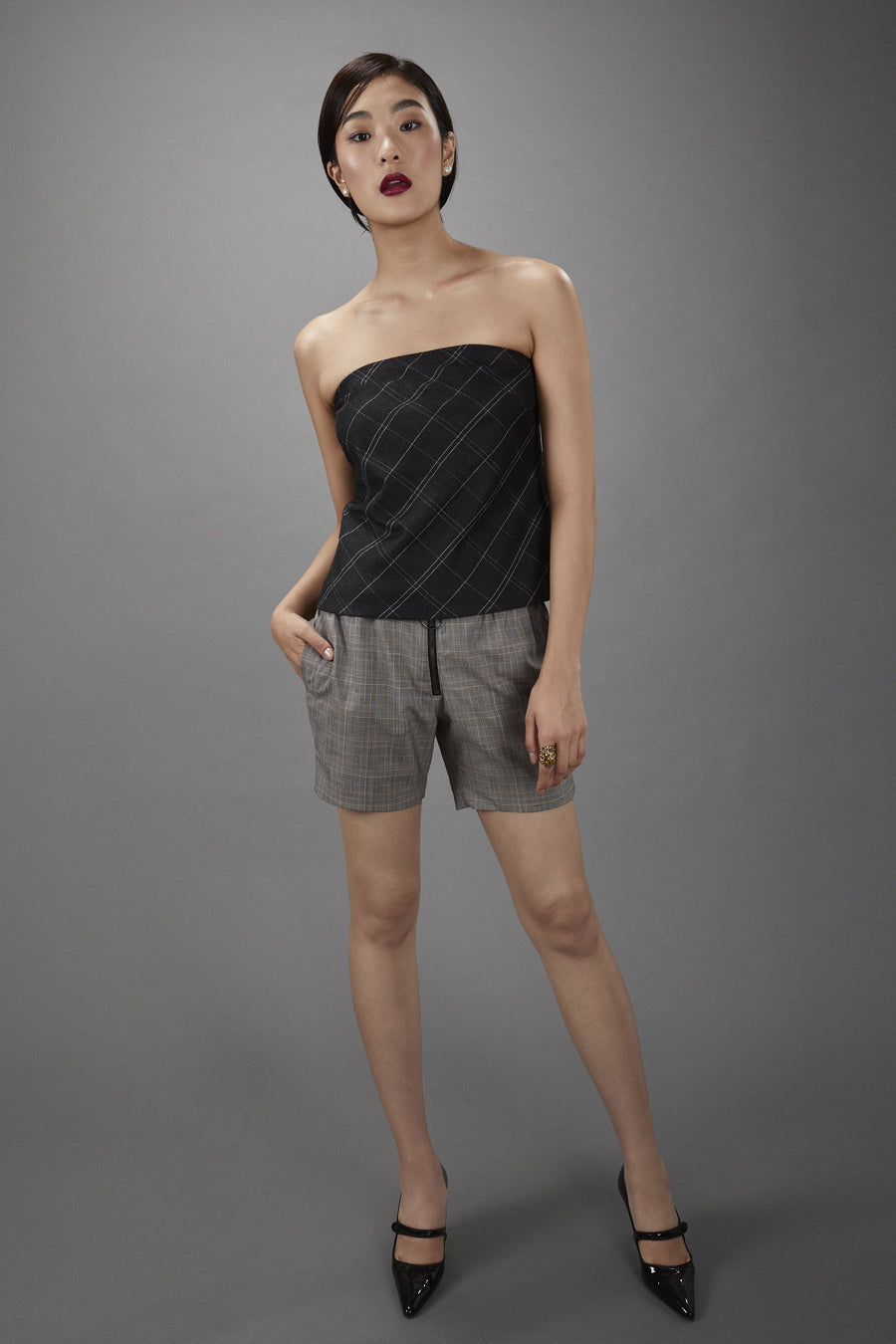 Strapless Top in Charcoal Windowpane.
