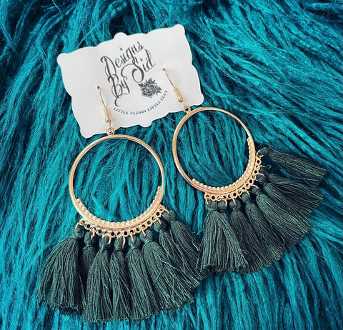 Forrest Green Fringe Earrings