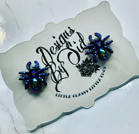 Duochrome Spider Stud Earrings