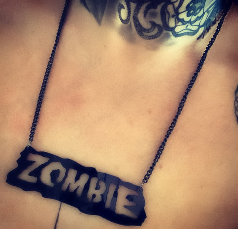 Zombie Black Acrylic Necklace
