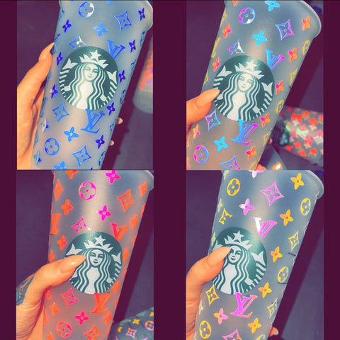 Holographic LV Inspired Starbucks Cold Cup