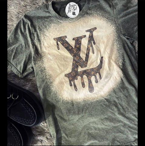 Bleeding LV Inspired Olive Green Acid Wash Tee