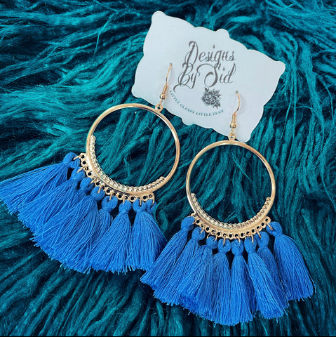 Light Blue Fringe Earrings