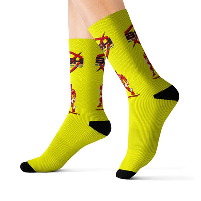 Black Super Hero Sublimation Socks Yellow