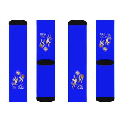 Rep Va 2 up -2 down Gold print: Blue Sublimation Socks