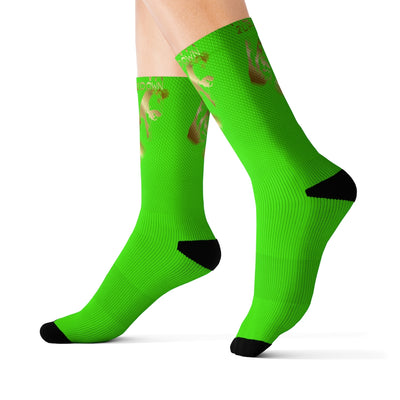 REP VA 2 UP- 2 DOWN Sublimation Socks Gold print Neon Green