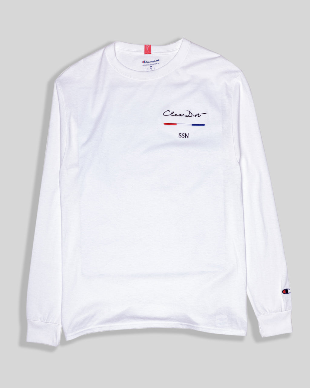 CleanDirt Flag Barcode-White Long Sleeve