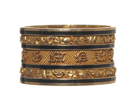 Wide Georgian Gold Mourning Ring Circa 1826