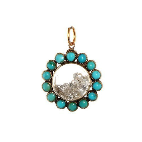 Victorian Turquoise and crystal locket filled with loose diamonds on antique rose gold chain.