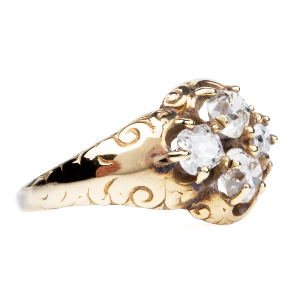 Victorian Era Four Stone Diamond Cluster Ring