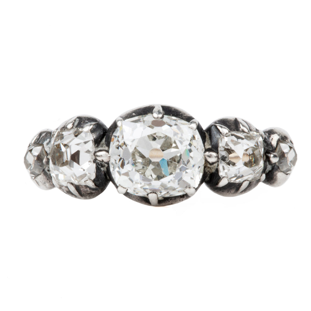 19th Century Old Mine Cut Diamond 5 Stone Ring