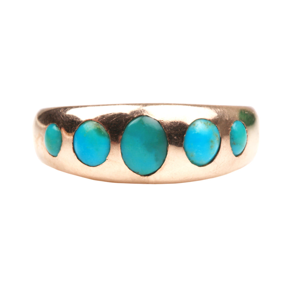 19th Century Era Five Stone Turquoise Ring