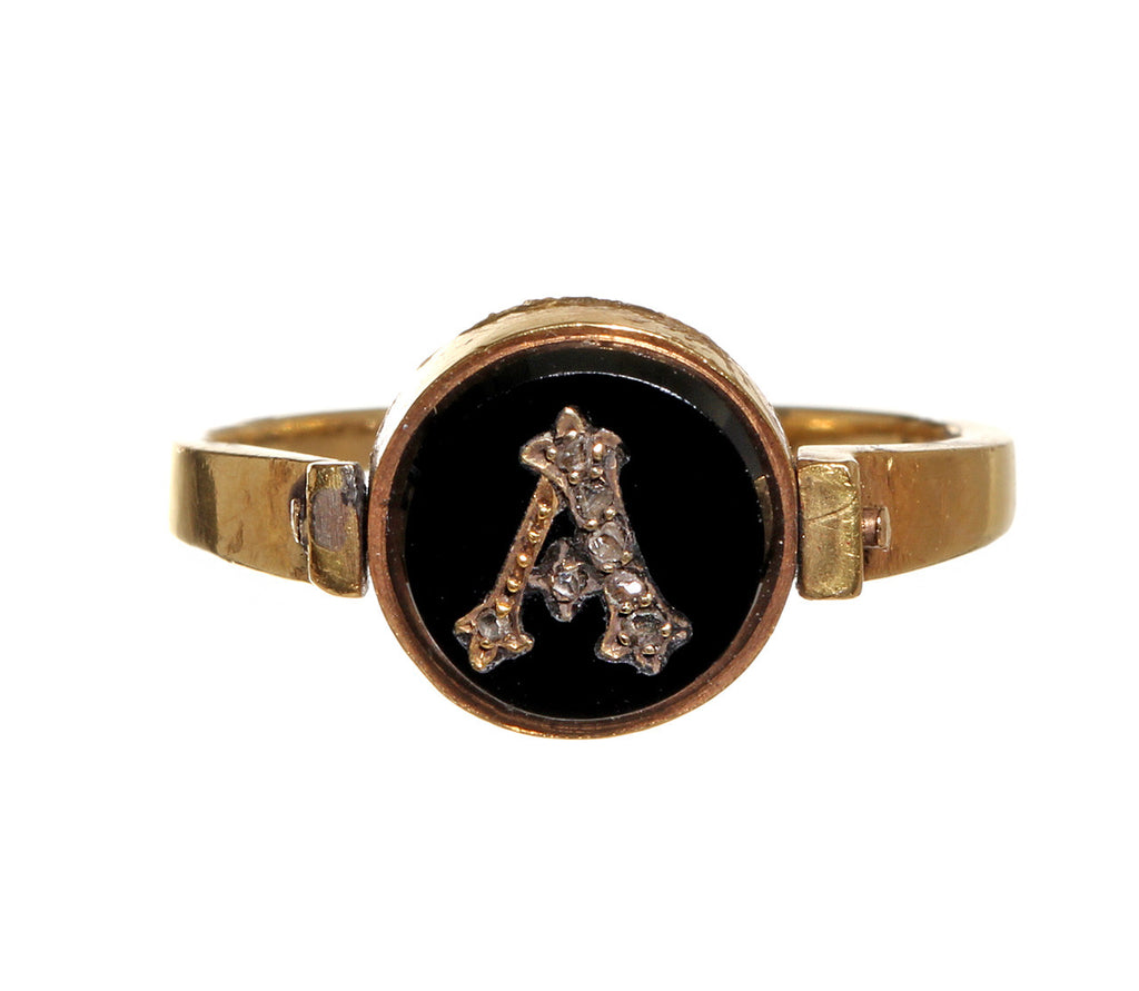"Victorian Gold in Quartz & Onyx  Diamond ""A"" Spinner Ring"