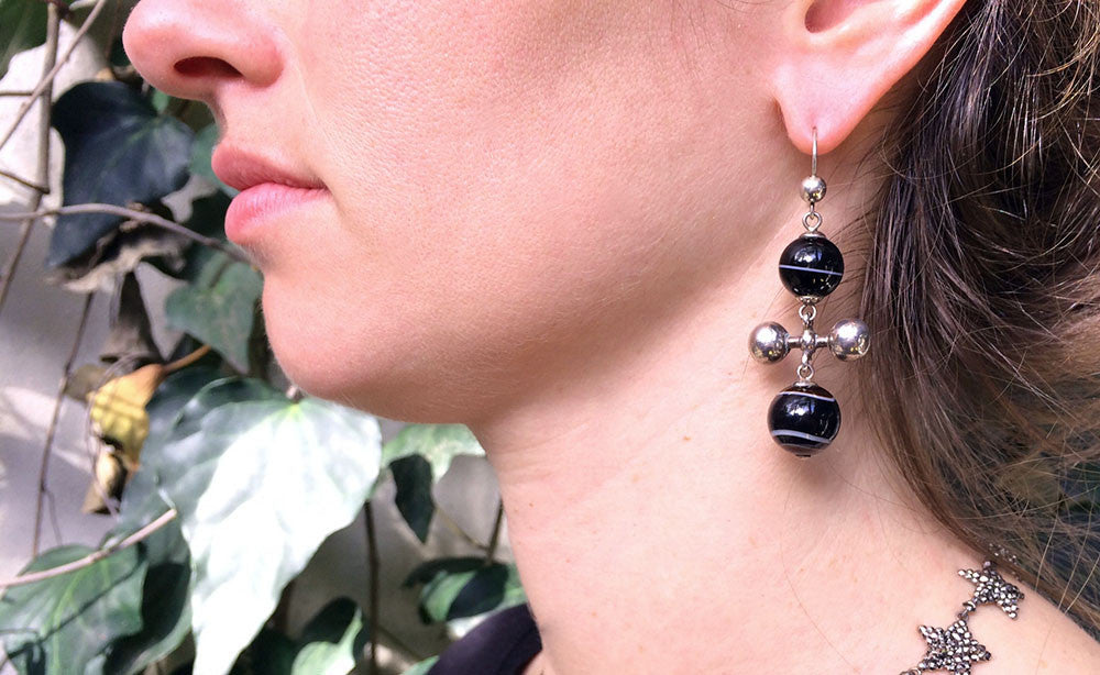 Victorian Era Sterling Banded Agate Ball Earrings