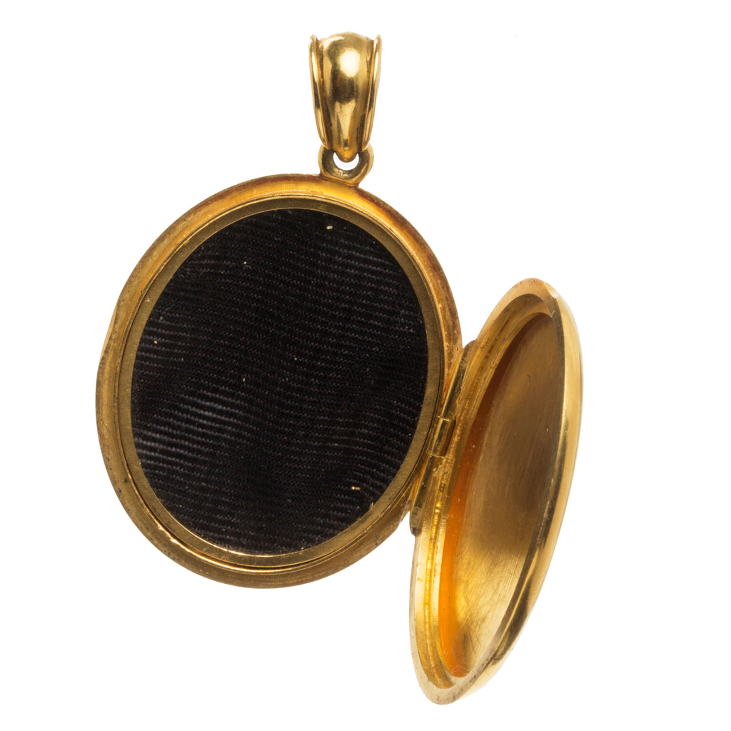 Victorian Era Gold Locket with Banded Agates and Diamonds