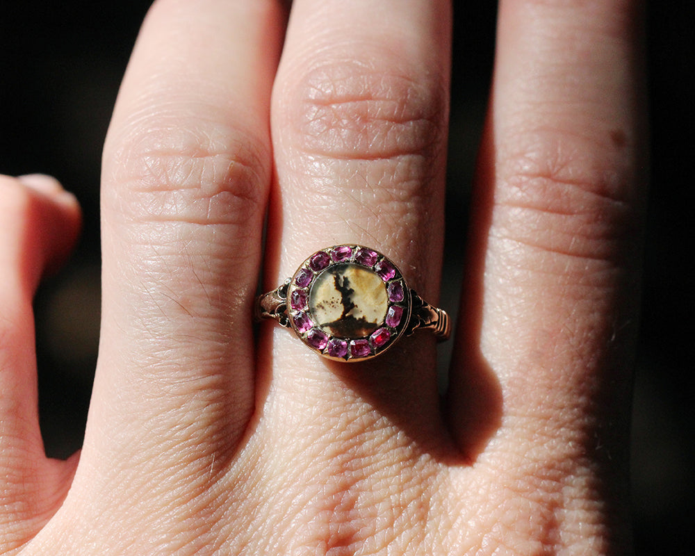 Early 19th Century Ruby and Agate Cluster Ring