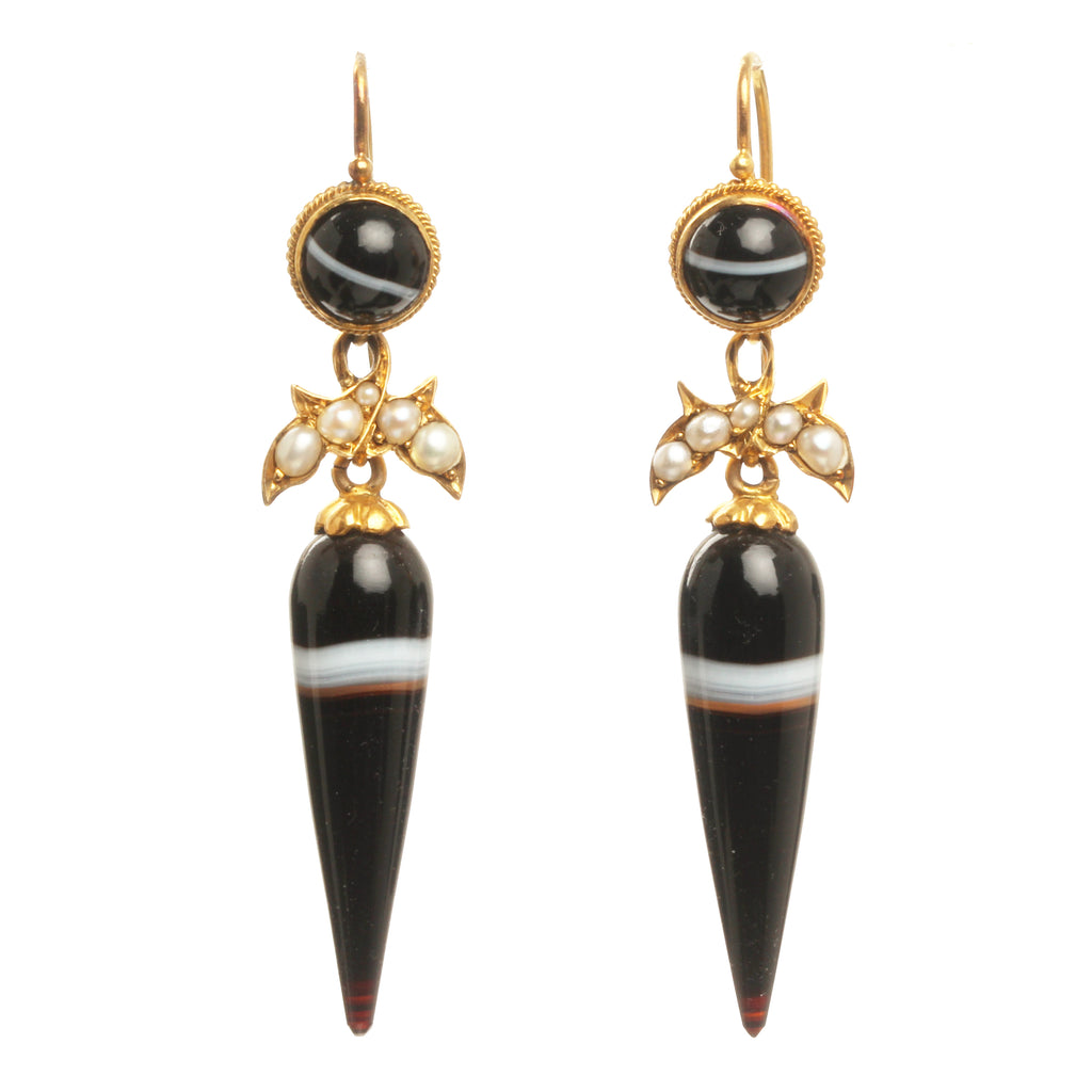 Victorian Era Banded Agate Amphora Drop Earrings