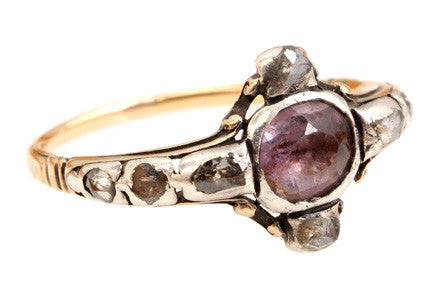 English Amethyst & Diamond Ring