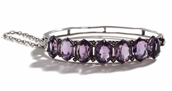 Victorian Amethyst and Pearl Bangle