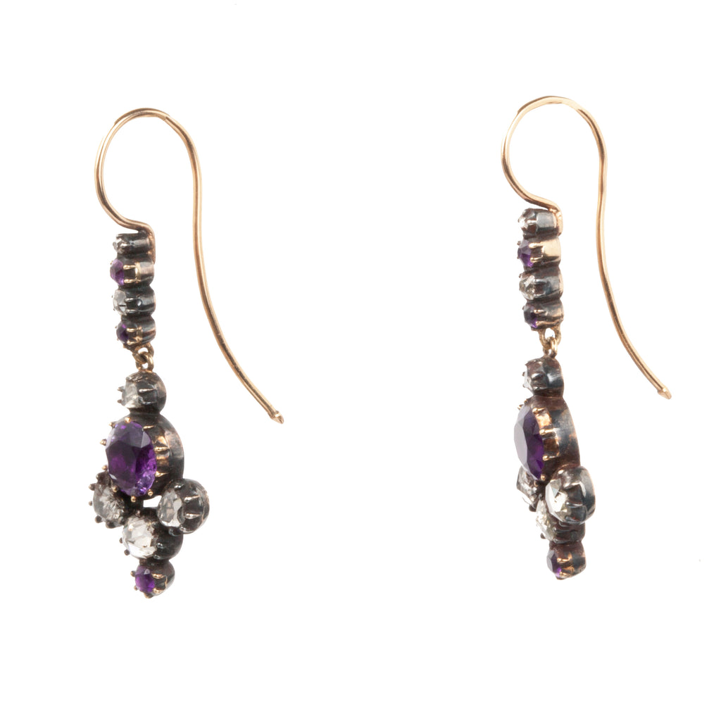 Georgian Era Rose Cut Diamond and Amethyst Earrings