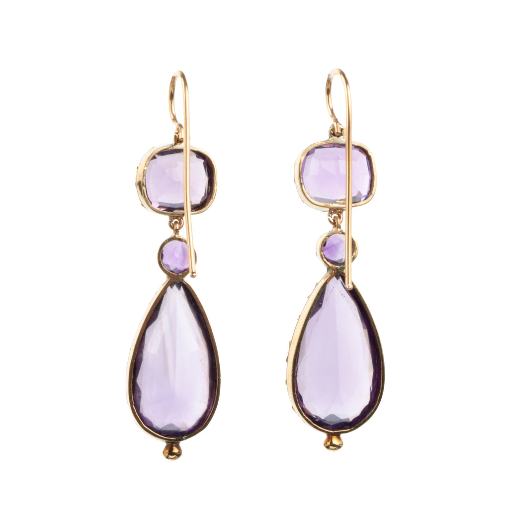 Early Victorian Era Amethyst Earrings