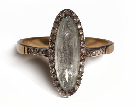 Georgian Closed Back Aquamarine Ring