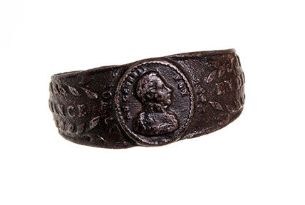 French Restoration Period Iron Mourning Ring Honoring Napoleon