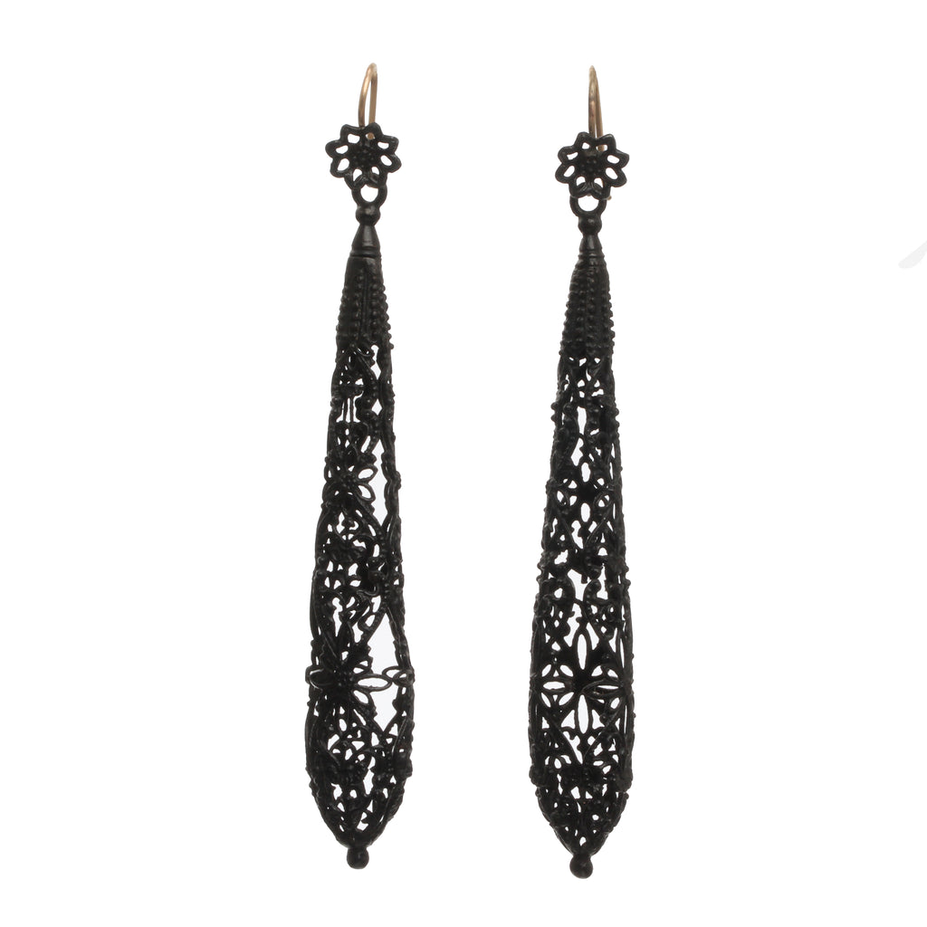 Early 19th Century Berlin Iron Torpedo Earrings
