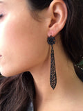 Rare Berlin Iron Long Torpedo Drop Earrings