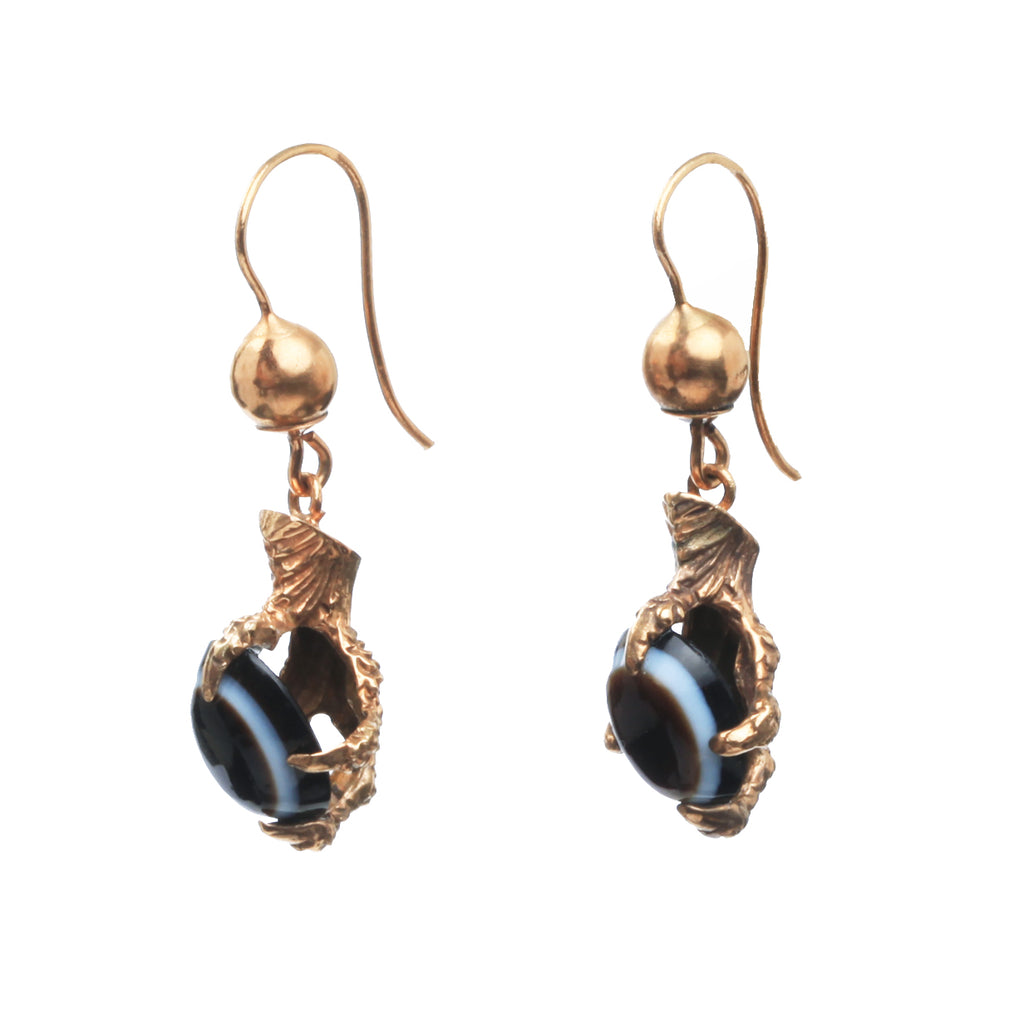 Victorian Agate Claw Earrings