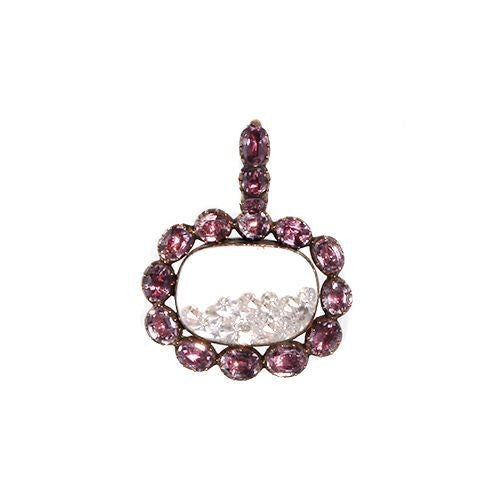 Georgian era Pink Topaz Locket filled with loose diamonds on antique rose gold chain.