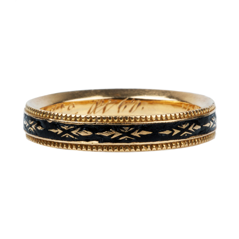 Georgian Era Mourning Black Enamel Band