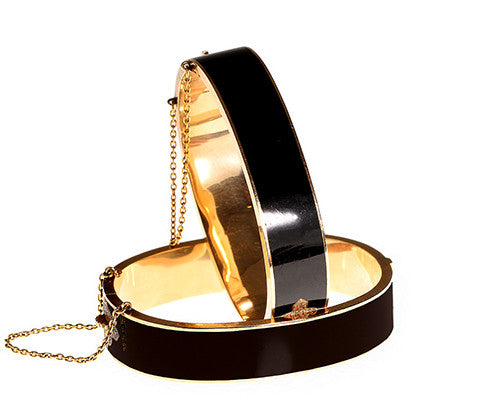 Set of Victorian Black Enamel & Gold Bangles