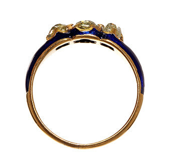 Old Mine Cut Three Diamond and Blue Enamel Ring