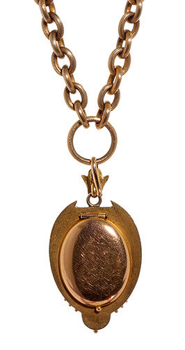 Gold Victorian Cameo Locket with Tintype Circa 1877