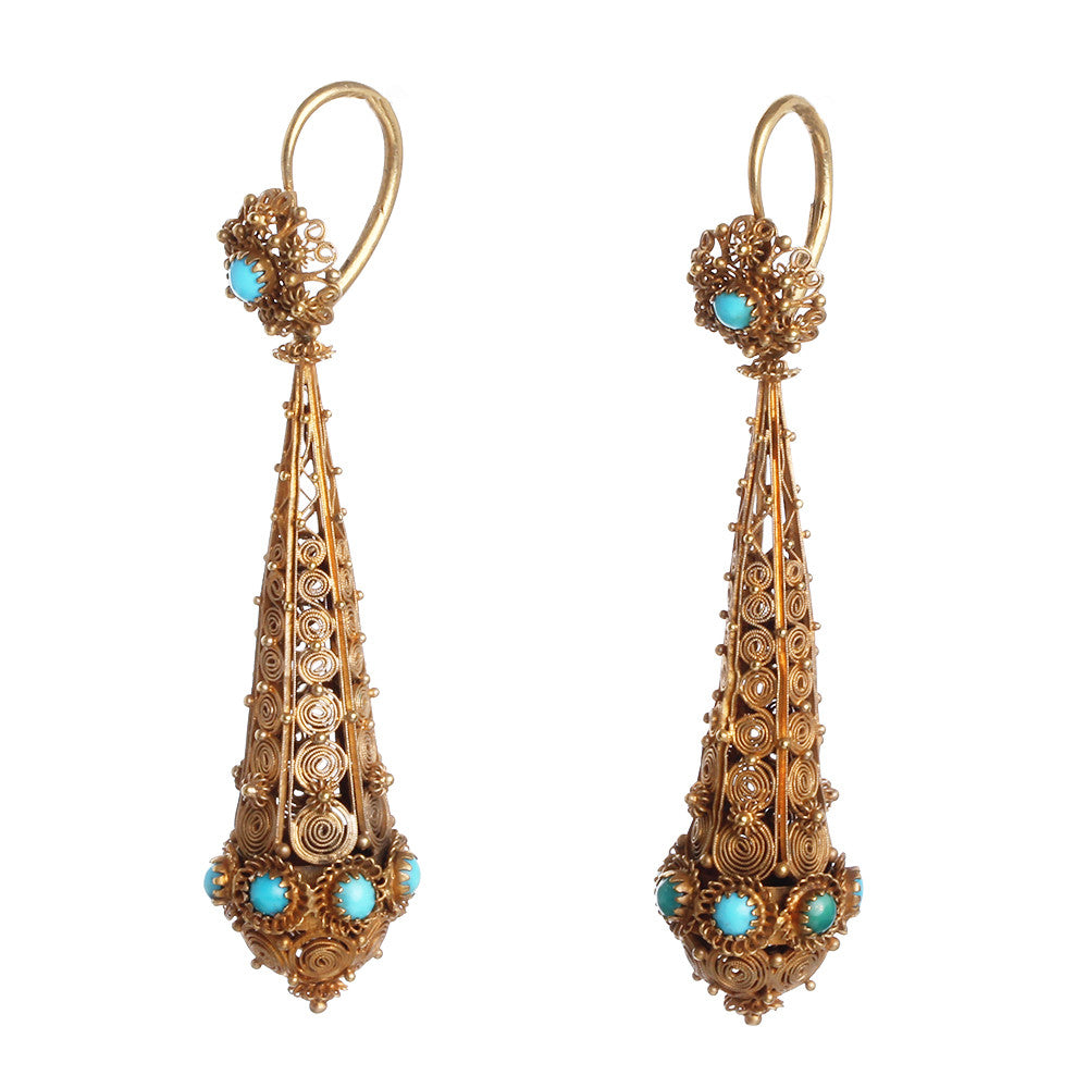 Georgian Cannetille Gold Turquoise Torpedo Earrings