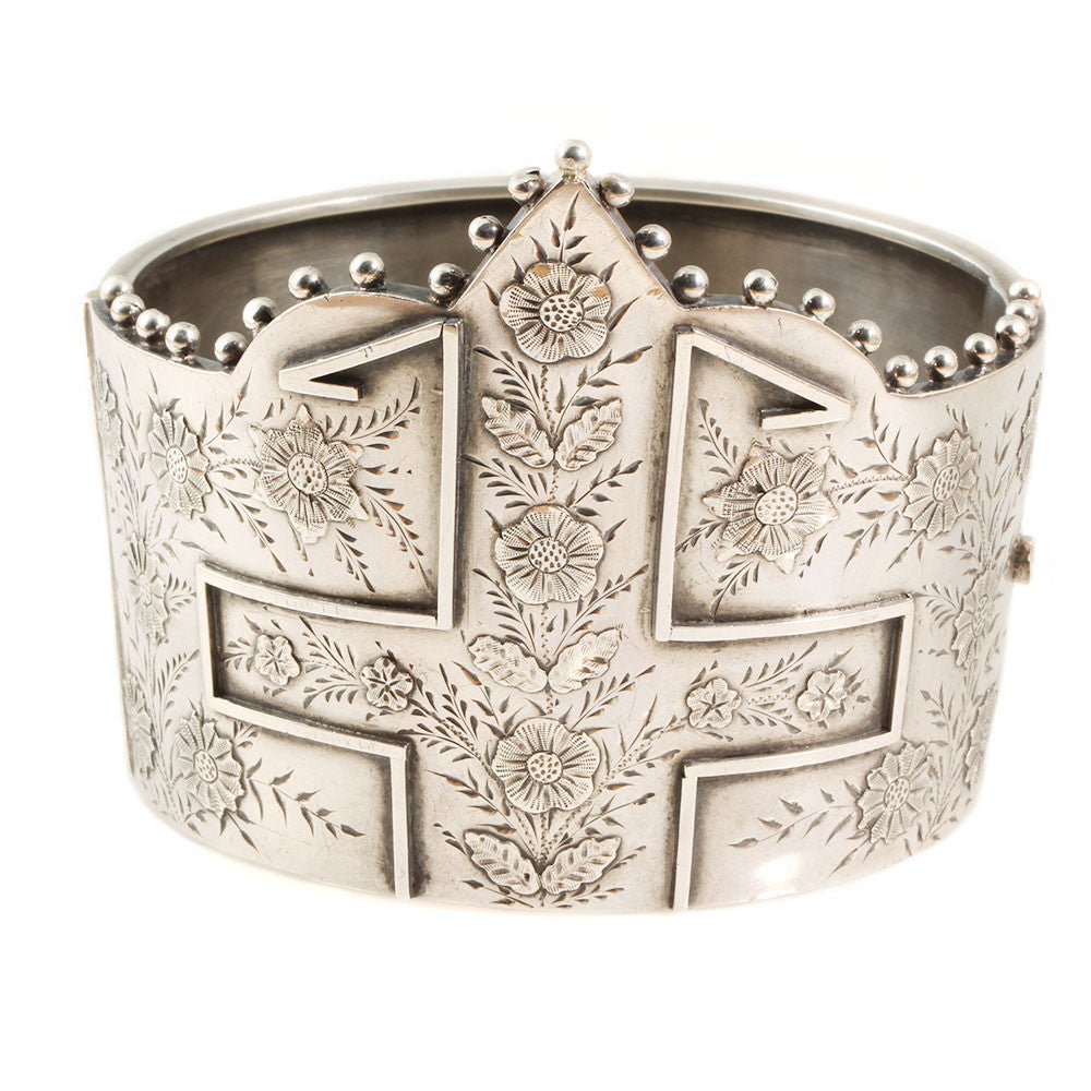 Victorian Sterling Silver Bishop's Mitre Bangle