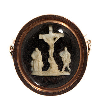 Georgian Carved Miniature Ivory Ring