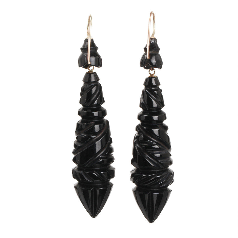 Victorian Jet Torpedo Earrings