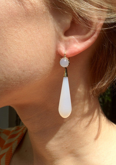 Georgian Chalcedony Torpedo Earrings